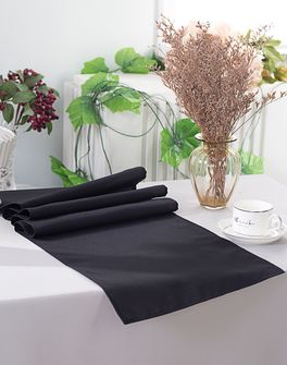 """13"""" x 108"""" Polyester Table Runners - Black 52939 (1pc)"""