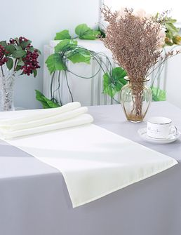 """13"""" x 108"""" Polyester Table Runners - Ivory 52902 (1pc)"""