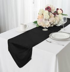 "13""x 108"" Scuba (Wrinkle-Free) Table Runner - Black 20239 (1pc)"