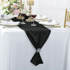 "13"" x 108"" Scuba (Wrinkle-Free) Table Runners - Black 20239 (1pc)"