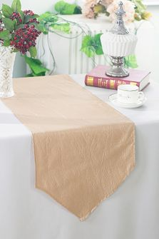 "13""x108"" Crushed Taffeta Table Runner - Champagne 61228(1pc)"
