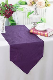 "13""x108"" Crushed Taffeta Table Runner - Eggplant 61245(1pc)"