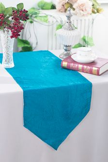 "13""x108"" Crushed Taffeta Table Runner - Turquoise 61285(1pc)"