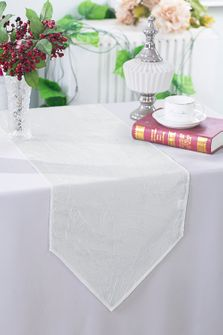 "13""x108"" Crushed Taffeta Table Runner - White 61201(1pc)"