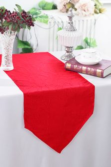 "13""x108"" Crushed Taffeta Table Runner - Red 61212 (1pc)"