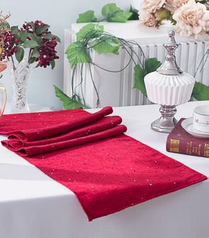 "13""x108"" Paillette Poly Flax / Burlap Table Runner - Apple Red 10308 (1pc/pk)"