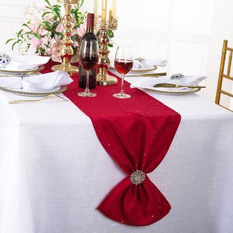 """13""""x108"""" Sequin Paillette Poly Flax / Burlap Table Runner - Apple Red 10308 (1pc/pk)"""