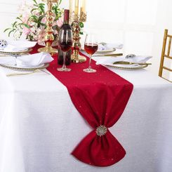 "13""x108"" Sequin Paillette Poly Flax / Burlap Table Runner - Apple Red 10308 (1pc/pk)"