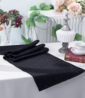 "13""x108"" Paillette Poly Flax / Burlap Table Runner - Black 10339 (1pc/pk)"