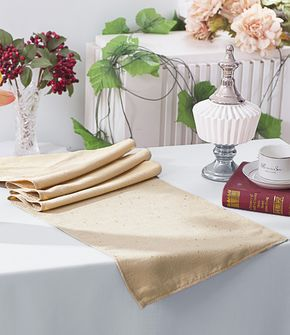 """13""""x108"""" Paillette Poly Flax / Burlap Table Runner - Champagne 10328 (1pc/pk)"""