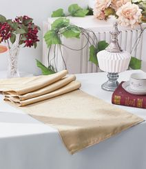 "13""x108"" Paillette Poly Flax / Burlap Table Runner - Champagne 10328 (1pc/pk)"