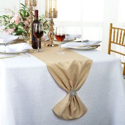 "13""x108"" Sequin Paillette Poly Flax / Burlap Table Runner - Champagne 10328 (1pc/pk)"