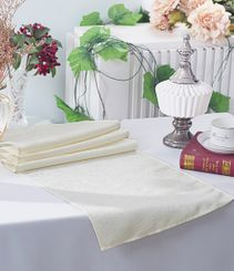 "13""x108"" Paillette Poly Flax / Burlap Table Runner - Ivory 10302 (1pc/pk)"