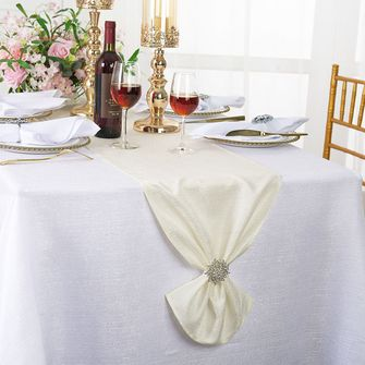 """13""""x108"""" Sequin Paillette Poly Flax / Burlap Table Runner - Ivory 10302 (1pc/pk)"""