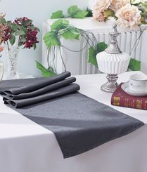 """13""""x108"""" Paillette Poly Flax / Burlap Table Runner - Pewter 10360 (1pc/pk)"""