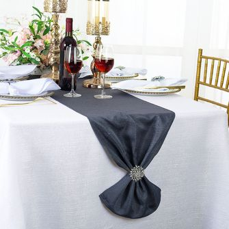 "13""x108"" Sequin Paillette Poly Flax / Burlap Table Runner - Pewter / Charcoal 10360 (1pc/pk)"