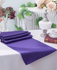 "13""x108"" Paillette Poly Flax / Burlap Table Runner - Regency Purple 10363 (1pc/pk)"
