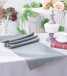 "13""x108"" Paillette Poly Flax / Burlap Table Runner - Silver 10340 (1pc/pk)"