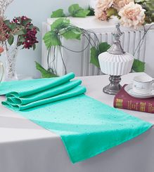 "13""x108"" Paillette Poly Flax / Burlap Table Runner - Tiff Blue / Aqua Blue 10318 (1pc/pk)"