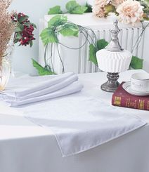"13""x108"" Paillette Poly Flax / Burlap Table Runner - White 10301 (1pc/pk)"