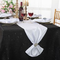 "13""x108"" Sequin Paillette Poly Flax / Burlap Table Runner - White 10301 (1pc/pk)"