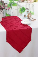 "13""x108"" Pintuck Taffeta Table Runner - Apple Red 60208(1pc)"