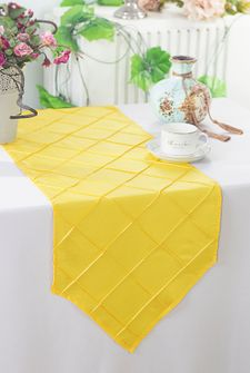 "13""x108"" Pintuck Taffeta Table Runner - Canary Yellow (1pc)"