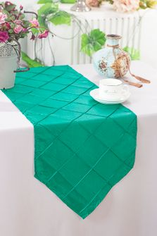 "13""x108"" Pintuck Taffeta Table Runner - Jade (1pc)"