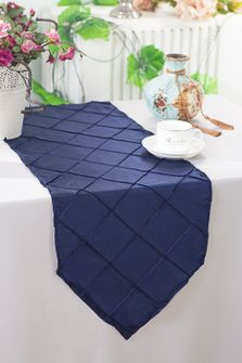 "13""x108"" Pintuck Taffeta Table Runner - Navy Blue (1pc)"