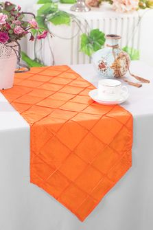 "13""x108"" Pintuck Taffeta Table Runner - Orange (1pc)"