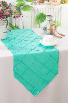 "13""x108"" Pintuck Taffeta Table Runner - Tiff Blue / Aqua Blue 60218(1pc)"
