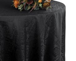 "132"" Marquis Jacquard Damask Polyester Tablecloth - Black 98739 (1pc/pk)"