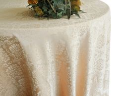 """132"""" Marquis Jacquard Damask Polyester Tablecloth - Champagne 98728 (1pc/pk)"""