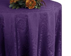 "132"" Marquis Jacquard Damask Polyester Tablecloth - Eggplant 98745 (1pc/pk)"