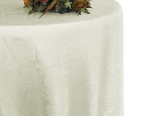"""132"""" Marquis Jacquard Damask Polyester Tablecloth - Ivory 98702 (1pc/pk)"""