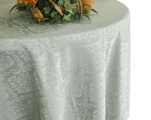 """132"""" Marquis Jacquard Damask Polyester Tablecloth - Silver 98740 (1pc/pk)"""