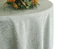 "132"" Marquis Jacquard Damask Polyester Tablecloth - Silver 98740 (1pc/pk)"