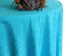 """132"""" Marquis Jacquard Damask Polyester Tablecloth - Turquoise 98785 (1pc/pk)"""