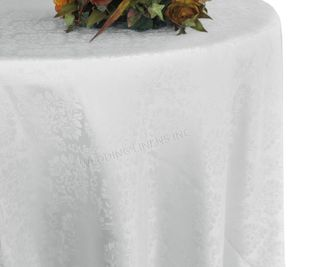 "132"" Marquis Jacquard Damask Polyester Tablecloth - White 98701 (1pc/pk)"