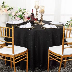 "132"" Round Paillette Poly Flax / Burlap Tablecloths (10 Colors)"