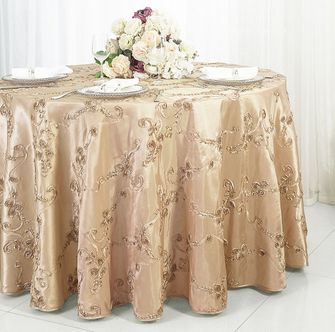 "132"" Ribbon Taffeta Tablecloth - Champagne 65628(1pc/pk)"