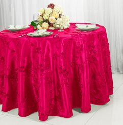 "132"" Ribbon Taffeta Tablecloth - Fuchsia  65609(1pc/pk)"