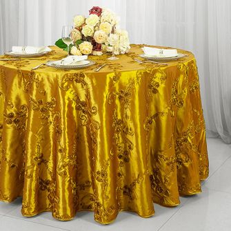 "132"" Ribbon Taffeta Tablecloth - Gold 65627(1pc/pk)"