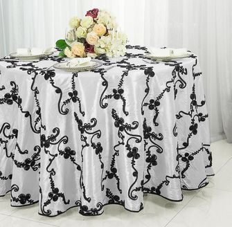 "132"" Ribbon Taffeta Tablecloth - White/Black 65669(1pc/pk)"