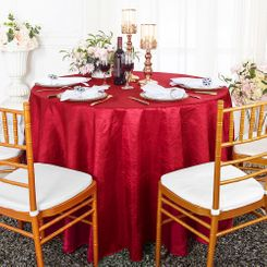 """132"""" Round  Crushed Taffeta Tablecloth - Apple Red 63008(1pc/pk)"""