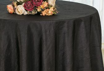 "132"" Round  Crushed Taffeta Tablecloth - Black 63039(1pc/pk)"