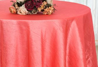 "132"" Round  Crushed Taffeta Tablecloth - Coral 63006(1pc/pk)"