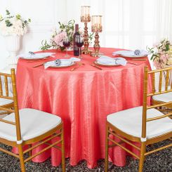 """132"""" Round  Crushed Taffeta Tablecloth - Coral 63006(1pc/pk)"""