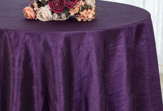 "132"" Round  Crushed Taffeta Tablecloth - Eggplant 63045(1pc/pk)"