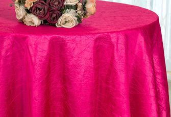 "132"" Round  Crushed Taffeta Tablecloth - Fuchsia 63009(1pc/pk)"